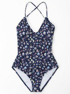 Lace Up Back Tiny Floral One Piece Swimwear - Deep Blue L