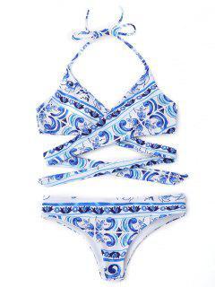 Halter Bedruckte Wickel-Bikini-Badebekleidung - Blau S