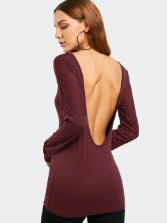 Backless Long Sleeve T Shirt - Wine Red 2xl