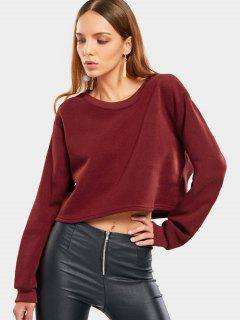 Crew Neck Drop Shoulder Sweatshirt - Wine Red L
