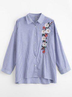 Floral Gestickte Streifen übergroßes Hemd - Streifen  L