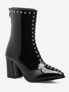 Stud Patent Leather Pointed Toe Ankle Boots - Black 35