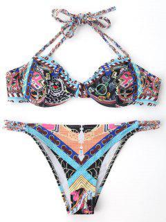Gedruckter Bügel Push Up BH Geflochtener Bikini - S