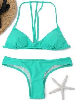 Gepolsterter Rücken Strappy Bikini - Grün M
