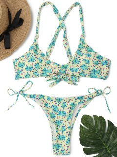 Cross Back Grass Print String Bikini Set - L