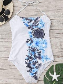 Halfter Blumen-Einteiler-Badebekleidung - Weiß S