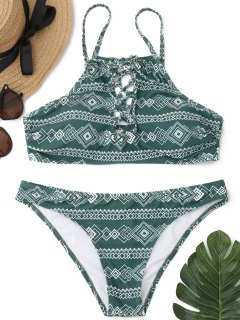 Patterned Lace Up Bathing Suit - Green L