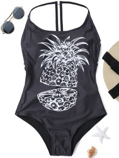 Cutout Graphic One Piece Swimsuit - Black L