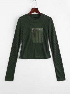 Fitting Zippered Pockets Knitwear - Army Green L