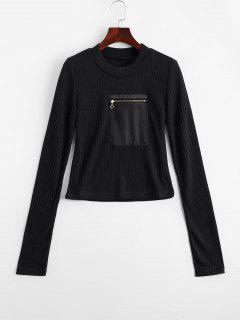Fitting Zippered Pockets Knitwear - Black M