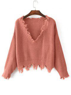 Loose Ripped V Neck Sweater - Orangepink