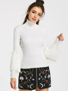 Ruffled Layering Turtleneck Knitwear - White