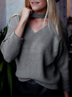 V Neck Ribbed Choker Sweater - Deep Gray