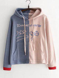 Letter Pocket Two Tone Hoodie - Pink