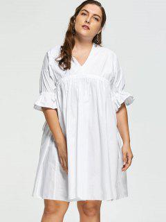 Robe Poupée Grande Taille Manches Évasées Volantées - Blanc 3xl