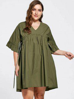 Plus Size Flare Sleeve Babydoll Dress - Army Green Xl