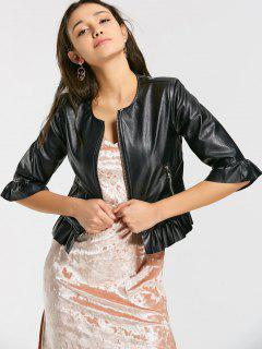 Zip Up Faux Leather Cropped Jacket - Black S