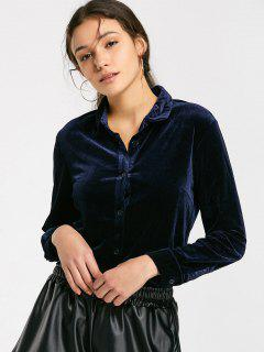 Button Down Side Slit Velvet Shirt - Purplish Blue S