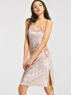 Criss Cross Crushed Velvet A Line Dress - Pink S