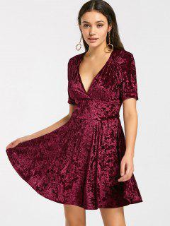 Crushed Velvet Crossed Front Mini A Line Dress - Purplish Red Xl