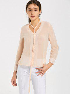Bow Tied See Thru Chiffon Blouse - Pinkbeige 2xl