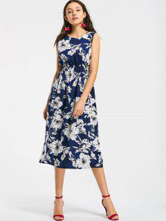 A Linie Midi Kleid Mit Gefalteter Taille Und Blumenmuster - Blumen S