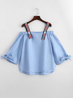 Bow Tied Cold Shoulder Blouse - Light Blue S