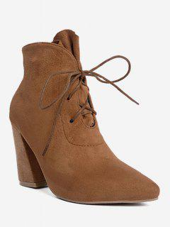 Pointed Toe Lace Up Ankle Boots - Brown 37