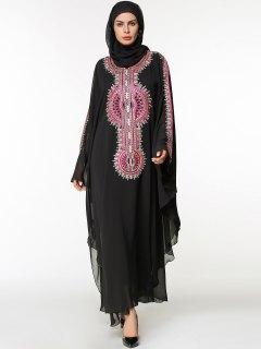 Langes Chiffon Gesticktes Arabisches Kleid - Schwarz