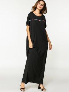 Tassels Arabic Maxi Dress - Black M