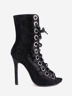 Lace Up Eyelets Peep Toe Stiletto Boots - Black 35
