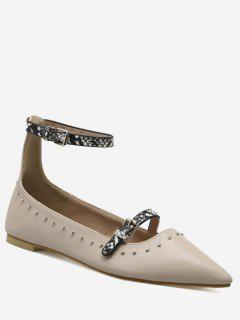 Buckle Strap Stud Ankle Strap Flats - Papaya 37