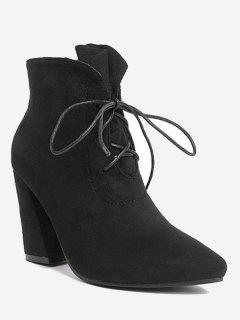 Pointed Toe Lace Up Ankle Boots - Black 40