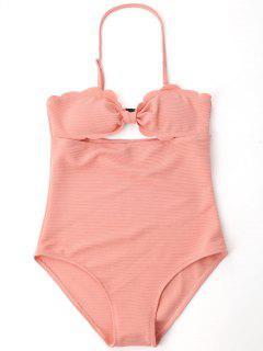 Cut Out Ribbed Bowknot Swimwear - Shallow Pink M