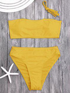 Gepolsterte High Cut Bandeau Bikini Set - Ingwer-gelb S