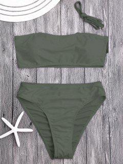 Padded High Cut Bandeau Bikini Set - Olive Green S