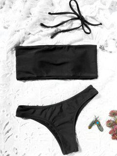 High Cut Bandeau Thong Bathing Suit - Black M