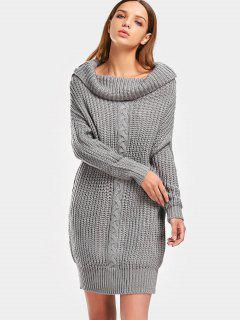 Turtleneck Cable Knit Chunky Sweater - Gray