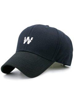 Distorted W Embroidery Baseball Hat - Black