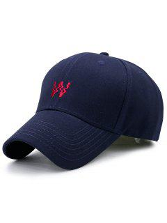 Distorted W Embroidery Baseball Hat - Purplish Blue