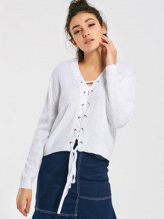 Drop Shoulder Lace Up V Neck Sweater - White M