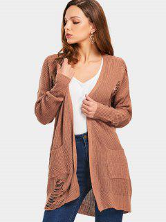 Pockets Open Front Ripped Cardigan - Light Coffee