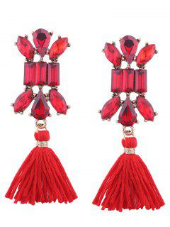 Artificial Crystal Teardrop Tassel Vintage Earrings - Red