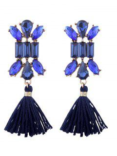 Artificial Crystal Teardrop Tassel Vintage Earrings - Blue