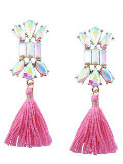 Artificial Crystal Teardrop Tassel Vintage Earrings - Pink