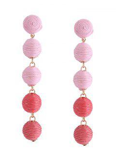 Ethnic Ball Earrings - Pink