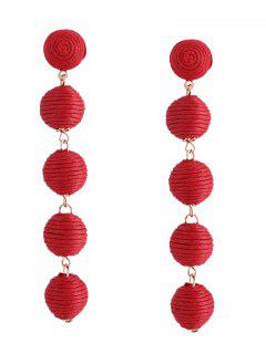 Ethnic Ball Earrings - Red