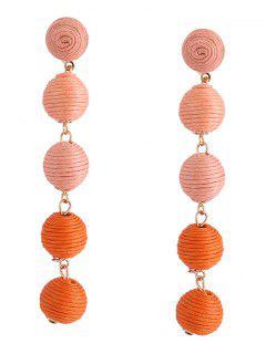 Ethnic Ball Earrings - Orange