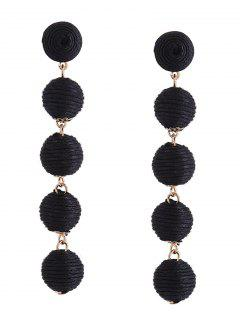 Ethnic Ball Earrings - Black