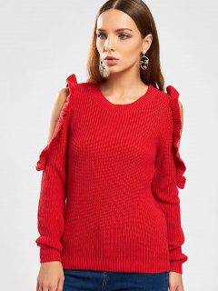 Frilled Chunky Cold Shoulder Sweater - Red M